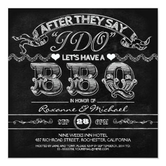 chalkboard BBQ stylish modern wedding invitation