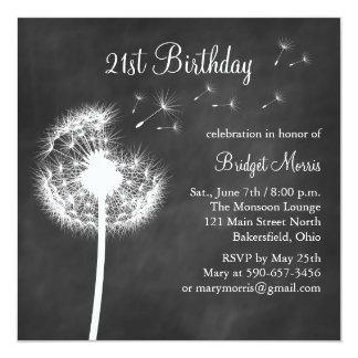 Chalkboard Best Wishes 21st Birthday Invitation