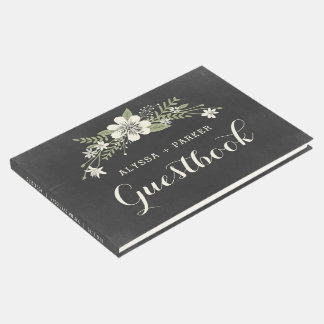 Chalkboard Bloom Wedding Guest Book