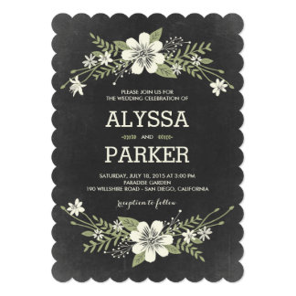 Chalkboard Blooms Wedding Invitations