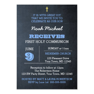 Chalkboard Blue First Communion Invitation