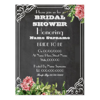 chalkboard bridal shower invitation postcard