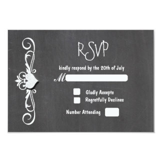Chalkboard Chalk HeartWedding RSVP card invitation