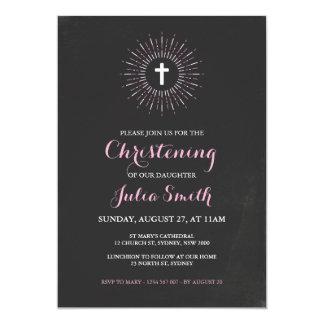 Chalkboard Christening / Baptism Invitation - Pink