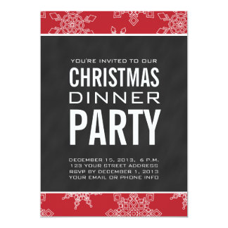"Chalkboard Christmas Dinner Party Invitation 5"" X 7"" Invitation Card"