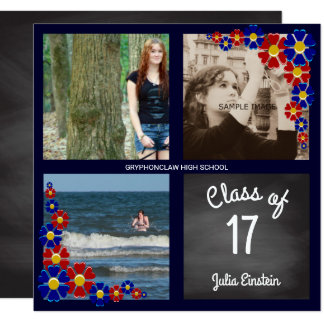 Chalkboard Class of 17 Girl Photo Graduation Party Card