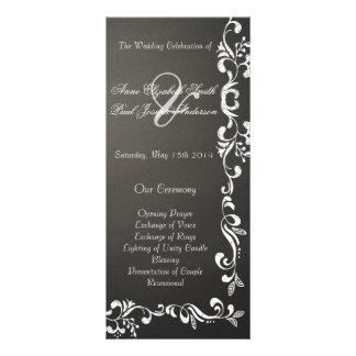 Chalkboard damask wedding programs rack card design