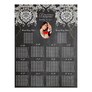 Chalkboard Damask Wedding Seating Chart Poster