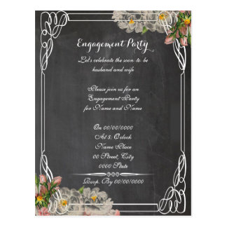 chalkboard, engagement party.ENGAGEMENT Postcard