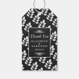 Chalkboard Floral Leaf Wedding Gift Tags