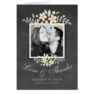 Chalkboard Floral Square Photo Love Thanks Card