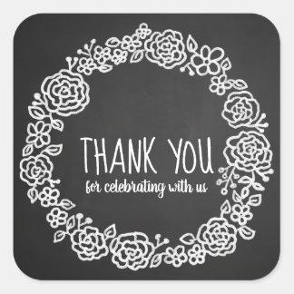 Chalkboard Floral Wreath Vintage Wedding Thank You Square Sticker