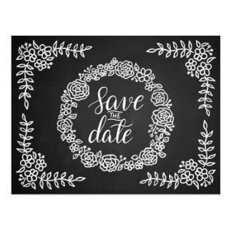 Chalkboard Flowers Wreath Wedding | Save The Date Postcard