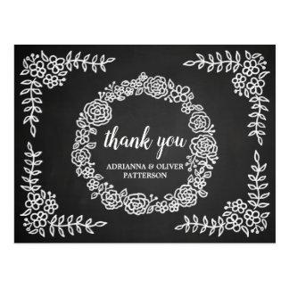Chalkboard Flowers Wreath Wedding Thank You Postcard