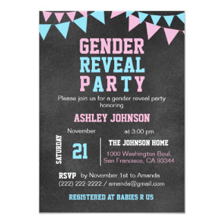 Chalkboard GENDER REVEAL PARTY Baby Shower Card