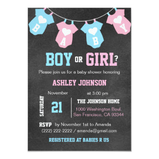 Chalkboard GENDER REVEAL Party Baby Shower Invites