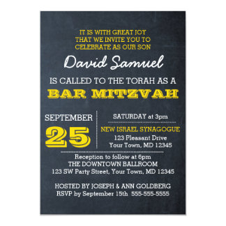 Chalkboard Gold Bar Mitzvah Invitation