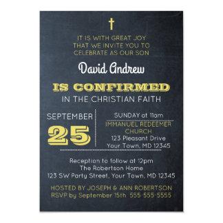 Chalkboard Gold Confirmation Invitation