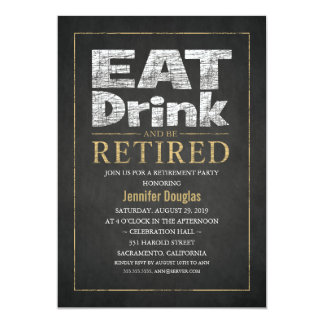 Chalkboard Gold Effect Funny Retirement Party 13 Cm X 18 Cm Invitation Card