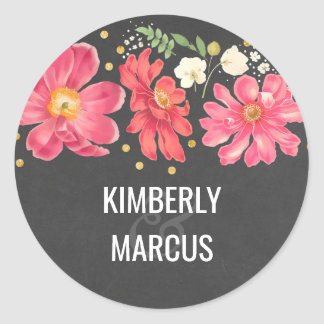 Chalkboard Gold Floral Vintage Wedding Round Sticker