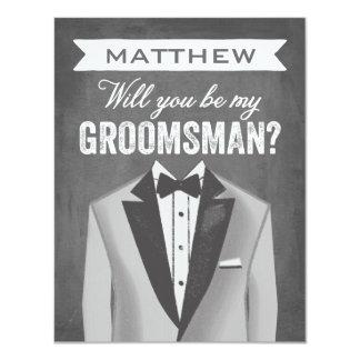 Chalkboard Groomsman | Groomsman 11 Cm X 14 Cm Invitation Card