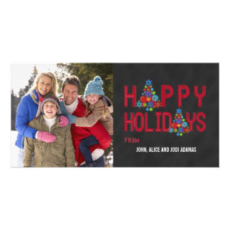 CHALKBOARD HAPPY HOLIDAYS | RED PERSONALIZED PHOTO CARD