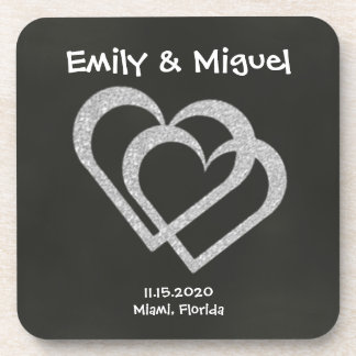 Chalkboard Heart Cork Coasters Wedding (Set of 6)