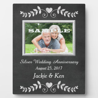 Chalkboard Heart Silver Anniversary Keepsake Display Plaque