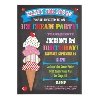 Chalkboard Ice Cream Party Invitation