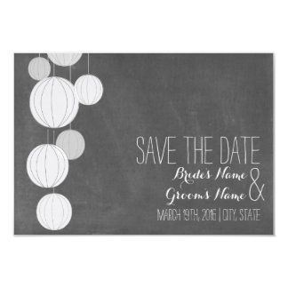 Chalkboard Inspired White Lanterns Save The Date Card