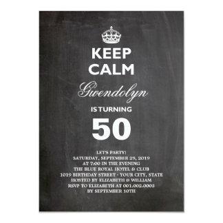 Chalkboard Keep Calm Funny 50th Birthday Party Card