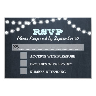 Chalkboard Lights Aqua Bat Mitzvah RSVP Card