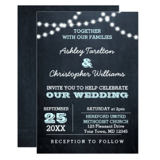 Chalkboard Lights Aqua Wedding Invitation