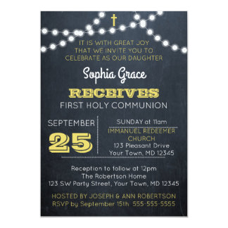 Chalkboard Lights Gold First Communion Invitation