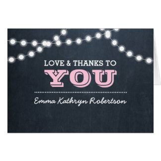 Chalkboard Lights Pink Confirmation Thank You Note Card