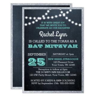 Chalkboard Lights Teal Silver Border Bat Mitzvah Card