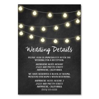Chalkboard + Lights Wedding Reception Insert Cards Table Card