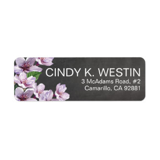 Chalkboard Lilac Branches Watercolor Flowers Return Address Label