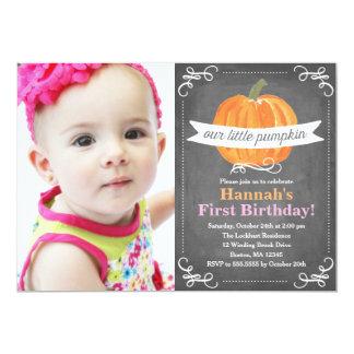 Chalkboard Little Pumpkin Birthday 13 Cm X 18 Cm Invitation Card