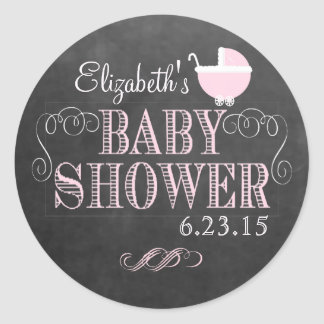 Chalkboard Look and Pink Baby Carriage Baby Shower Classic Round Sticker