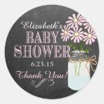 Chalkboard Look Mason Jar- Baby Shower Round Sticker