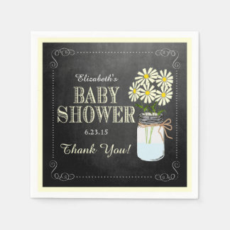 Chalkboard Look Mason Jar Yellow Baby Shower Paper Napkin