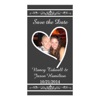 Chalkboard Look Photo Wedding Save The Date Card Personalized Photo Card