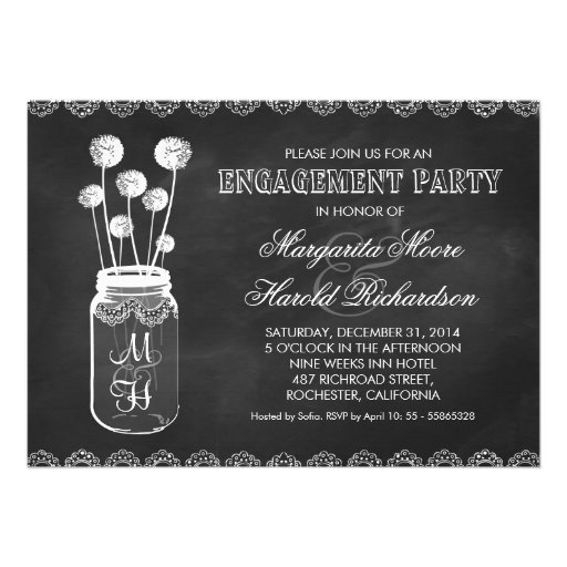 Chalkboard mason jar engagement party invitations