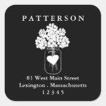 Chalkboard Mason Jar Floral Return Address Label Square Sticker