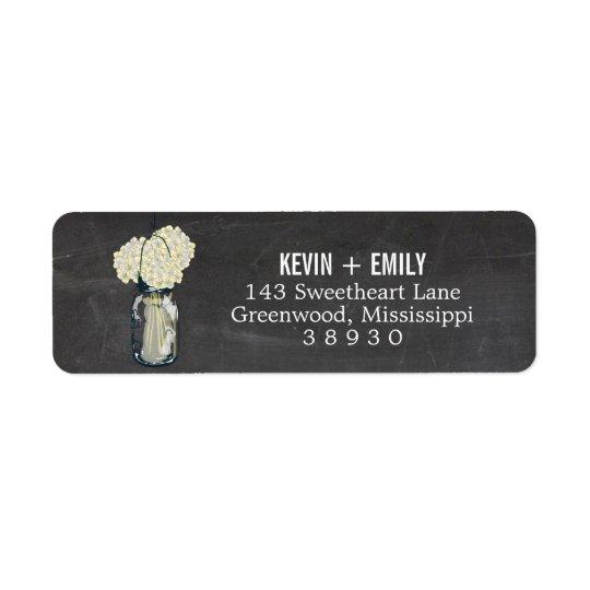 Chalkboard Mason Jar & Hydrangeas | Return Address Return Address Label