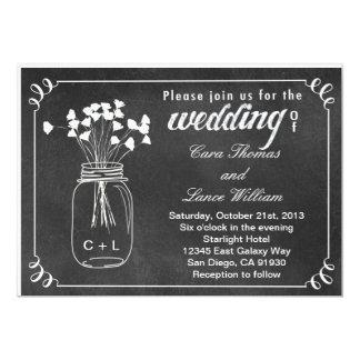 Chalkboard Mason Jar Wedding Invitation