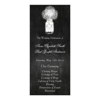 Chalkboard mason jar wedding programs rack card