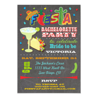 Chalkboard Mexican Fiesta Bachelorette Party Card
