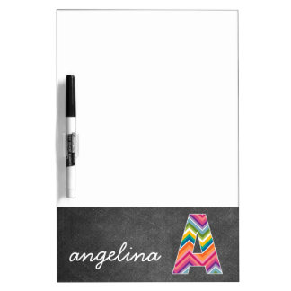 Chalkboard Monogram Letter A with Bright Chevrons Dry Erase Boards